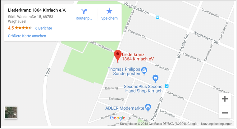 Anfahrt Sängerheim Liederkranz Kirrlach